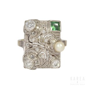 A tourmaline and pearl set diamond ring, 1930s-40s