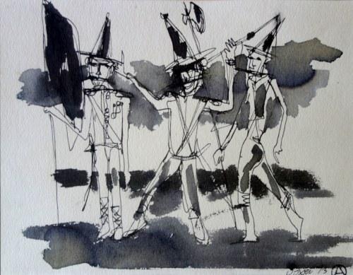 Otto AXER (1906-1983), Trzy postacie z halabardą, 1973