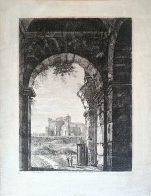 Luigi ROSSINI (1790-1857), Widok na świątynię Wenus w Rzymie przez bramę do Koloseum