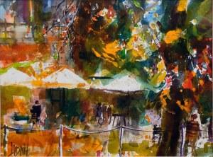 Krzysztof Ludwin, Krakowskie parasole i kawa w słońcu, 2021