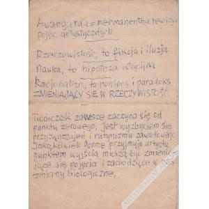 Henryk Stażewski (1894-1988) - [Rękopis, Lata 1970-80 Te] Awangarda=Permanentna Rewizja Pojęć Artystycznych. (...)