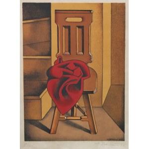Berlewi Henryk (1894 Warszawa - 1967 Paryż) - [litografia, 1950] Stołek z czerwoną szmatą