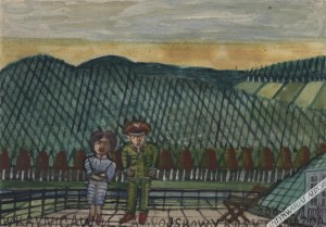 Nikifor Krynicki [Epifaniusz Drowniak] (1895-1968) - [Akwarela, Lata 1950-Te] Krynica, Rosyjski Wojskowy