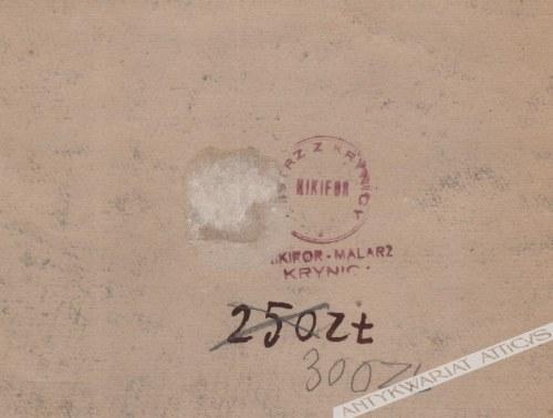 Nikifor Krynicki [Epifaniusz Drowniak] (1895-1968) - [akwarela, lata 1950-te] Krynica, święci na tle cerkwi w Krynicy