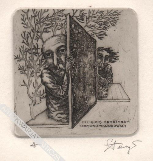 Stasys Eidrigevičius (Ur. 1949) - [grafika, 1973] Exlibris Krystyna + Edmund = Puzdrowscy