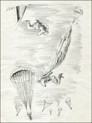 Antoni Uniechowski (1903-1976) - [rysunek, ok. 1950-60] [Spadochroniarze]