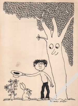 Bohdan Butenko (1931-2019) - [rysunek, 1992] [Zając i Chłopiec Pod Drzewem]