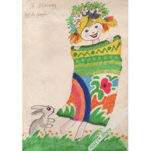 Janusz Stanny (1932-2014) - [Rysunek, Lata 1980-Te] [Dziewczynka I Zając]