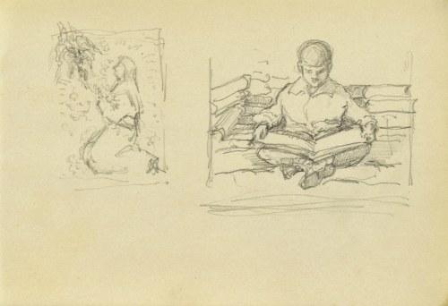 Józef PIENIĄŻEK (1888-1953), Dwa szkice: Modląca się, Chłopiec nad książką