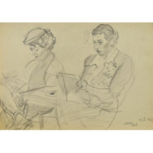 Kasper POCHWALSKI (1899-1971), Kobiety w trakcie lekcji rysunku, 1953