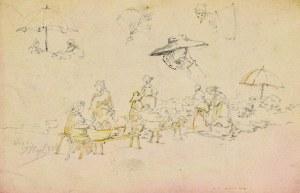 Tadeusz RYBKOWSKI (1848-1926), Szkice – scena targu, postacie pod parasolem, zarys głowy kobiety w chustce na głowie, głowa kobiety w kapeluszu i kobieta z koszem na plecach, 1884?