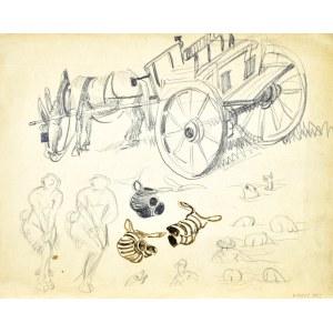 Henryk UZIEMBŁO(1879-1949), Szkic konia z wozem, 1925