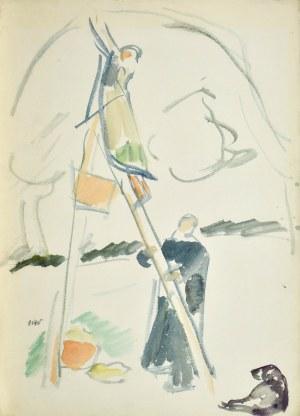 Wojciech WEISS (1875-1950), Obieranie jabłek, ok. 1910