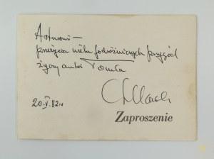 [Dedykacja] Szklarski Alfred dedykacja z autografem na zaproszeniu