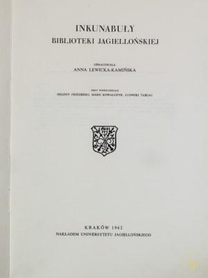 Lewicka - Kamińska Anna, Inkunabuły Biblioteki Jagiellońskiej
