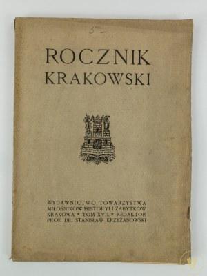 [Rocznik Krakowski Tom XVII] Klein Franciszek, Stary Kraków