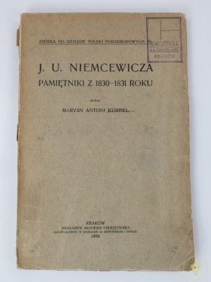 Kurpiel Maryan Antoni, J.U. Niemcewicza Pamiętniki z 1830 -1831 roku