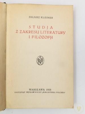 Kleiner Juljusz, Studia z zakresu literatury i filozofji