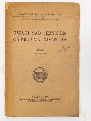 Fik Ignacy, Uwagi nad językiem Cyprjana Norwida