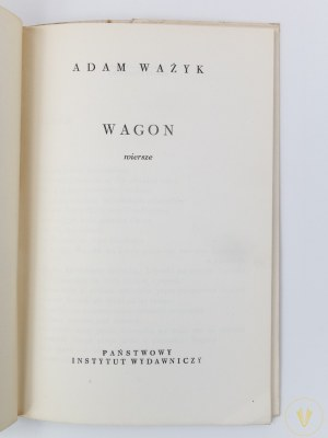 [proj. obw. Danuta Staszewska] Ważyk Adam, Wagon [wydanie I]