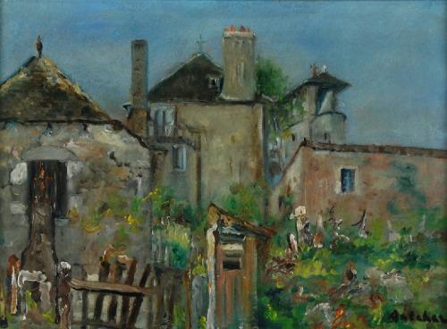 Isaac ANTCHER (1899-1992), Podwórze w mały miasteczku