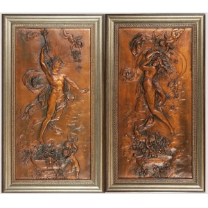 Karl STERRER Starszy (1844-1918), Para plakiet z personifikacją Świtu i Zmierzchu