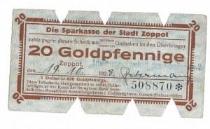 Zoppot (Sopot), Sparkasse der Stadt, 20 Goldpfennige 1923