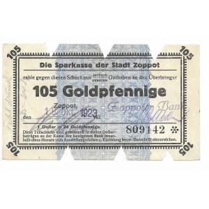 Zoppot (Sopot), Sparkasse der Stadt, 105 Goldpfennige 1923 - błędna klauzula 1 Dollar = 24 Goldpfennige
