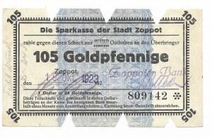 Zoppot (Sopot), Sparkasse der Stadt, 105 Goldpfennige 1923 - błędna klauzula