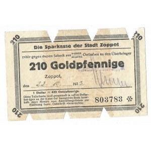 Zoppot (Sopot), Sparkasse der Stadt, 210 Goldpfennige 1923