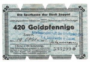 Zoppot (Sopot), Sparkasse der Stadt, 420 Goldpfennige 1923