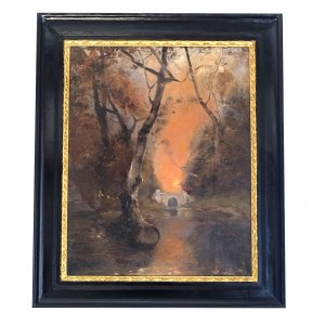 Klever Julij, Pejzaż z mostkiem o zachodzie słońca