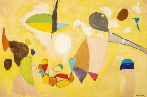 Marek WŁODARSKI (1898 - 1960), Kompozycja na żółtym tle, 1956