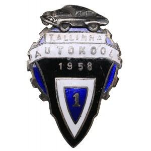 Russia - USSR badge ESSR Tallinn Driving School I 1958