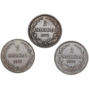 Russia - Grand Duchy of Finland 2 markkaa 1870, 1872, 1907 (3)