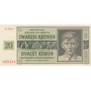 Bohemia & Moravia 20 kronen 1944 - Specimen