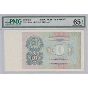 Estonia 10 krooni 1940 progressive proof - PMG 65 EPQ