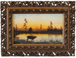 Aleksander ŚWIESZEWSKI (1839- 1895), Pejzaż z zachodem słońca