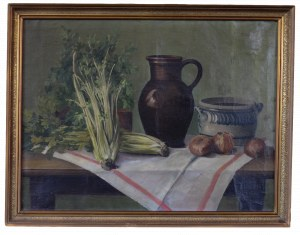 B.DESUTER, Martwa natura z dzbanem i selerami (XXw.)