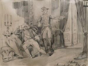 Włodzimierz ŁUSKINA (1849-1894), Scena dworska [Stanisław August przed abdykacją?], 1891