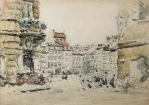 Tadeusz CIEŚLEWSKI (1870-1956), Widok z Zapiecka na stronę Dekerta i Barssa Starówki warszawskiej, lata 50. XX w.