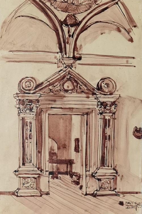 Stanisław NOAKOWSKI (1867 - 1928), Widok portalu zamku w Brzegu, 1905