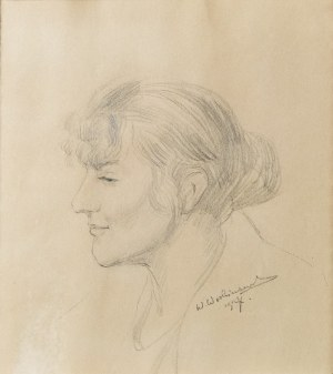 Wincenty WODZINOWSKI (1866-1940), Portret kobiety z profilu, 1907