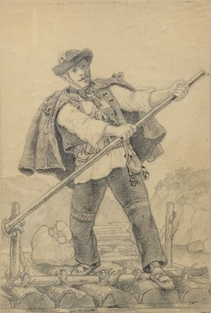 Juliusz ZUBER (1861-1910), Flisak na tratwie