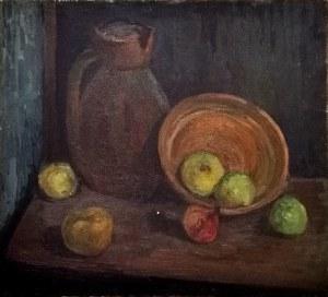 Maria GUNTNER-KAWALEROWICZ (1916-1996), Martwa natura z dzbanem i owocami, ok. 1949