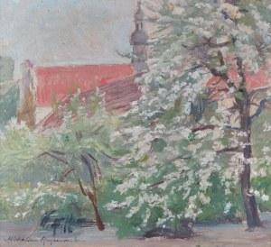 Michalina KRZYŻANOWSKA (1883-1962), Pejzaż z kwitnącym drzewem