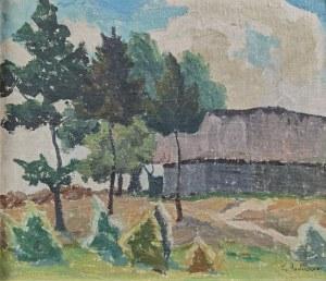 Zenobiusz PODUSZKO (1887-1963), Pejzaż z zabudowaniami