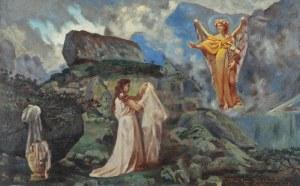 Kazimierz BIEŃKOWSKI (1838-1918), Anioł ukazujący się dziewczynie [Zwiastowanie ?], 1914