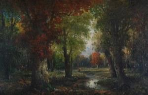 Adolf KAUFMANN vel J. ROLLIN (1848-1916), Pejzaż z rzeką i sztafażem