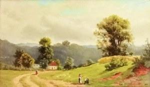 Malarz nieokreślony, XIX w., Pejzaż ze sztafażem
